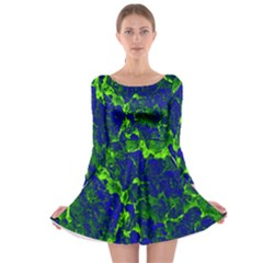 Abstract Green And Blue Background Long Sleeve Skater Dress