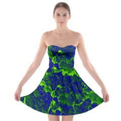 Abstract Green And Blue Background Strapless Bra Top Dress
