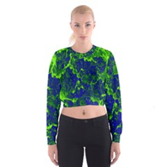 Abstract Green And Blue Background Women s Cropped Sweatshirt