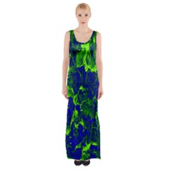 Abstract Green And Blue Background Maxi Thigh Split Dress