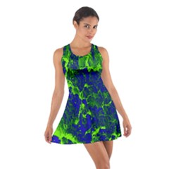 Abstract Green And Blue Background Cotton Racerback Dress