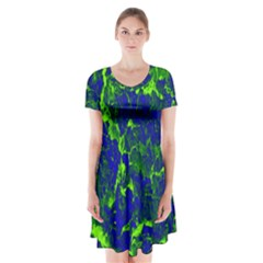 Abstract Green And Blue Background Short Sleeve V-neck Flare Dress