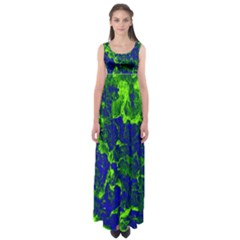 Abstract Green And Blue Background Empire Waist Maxi Dress