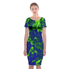 Abstract Green And Blue Background Classic Short Sleeve Midi Dress