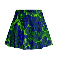 Abstract Green And Blue Background Mini Flare Skirt
