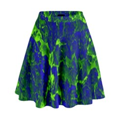Abstract Green And Blue Background High Waist Skirt