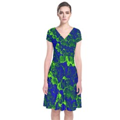 Abstract Green And Blue Background Short Sleeve Front Wrap Dress