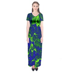Abstract Green And Blue Background Short Sleeve Maxi Dress