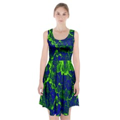 Abstract Green And Blue Background Racerback Midi Dress