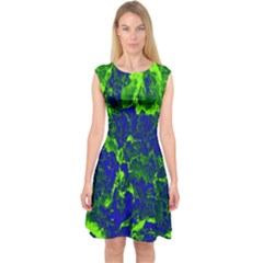 Abstract Green And Blue Background Capsleeve Midi Dress