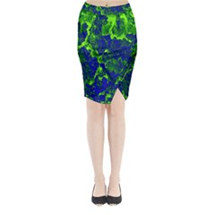 Abstract Green And Blue Background Midi Wrap Pencil Skirt