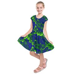 Abstract Green And Blue Background Kids  Short Sleeve Dress
