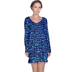 Blue Box Background Pattern Long Sleeve Nightdress