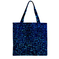 Blue Box Background Pattern Zipper Grocery Tote Bag