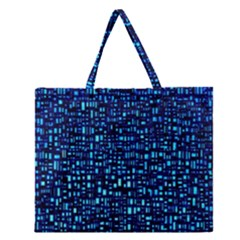 Blue Box Background Pattern Zipper Large Tote Bag