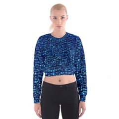 Blue Box Background Pattern Women s Cropped Sweatshirt