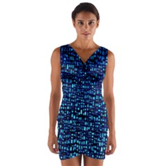 Blue Box Background Pattern Wrap Front Bodycon Dress
