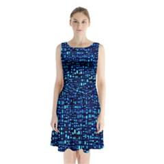 Blue Box Background Pattern Sleeveless Chiffon Waist Tie Dress