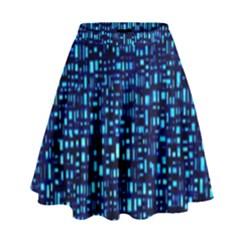 Blue Box Background Pattern High Waist Skirt