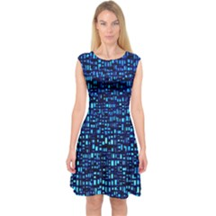 Blue Box Background Pattern Capsleeve Midi Dress