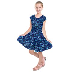 Blue Box Background Pattern Kids  Short Sleeve Dress