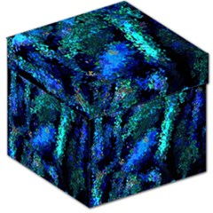 Underwater Abstract Seamless Pattern Of Blues And Elongated Shapes Storage Stool 12