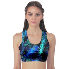 Underwater Abstract Seamless Pattern Of Blues And Elongated Shapes Sports Bra