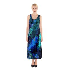 Underwater Abstract Seamless Pattern Of Blues And Elongated Shapes Sleeveless Maxi Dress
