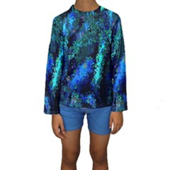 Underwater Abstract Seamless Pattern Of Blues And Elongated Shapes Kids  Long Sleeve Swimwear