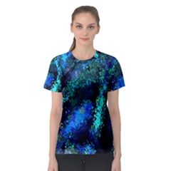Underwater Abstract Seamless Pattern Of Blues And Elongated Shapes Women s Sport Mesh Tee