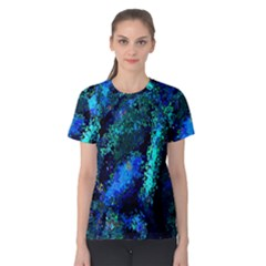 Underwater Abstract Seamless Pattern Of Blues And Elongated Shapes Women s Cotton Tee