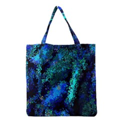 Underwater Abstract Seamless Pattern Of Blues And Elongated Shapes Grocery Tote Bag