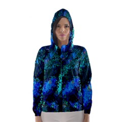Underwater Abstract Seamless Pattern Of Blues And Elongated Shapes Hooded Wind Breaker (Women)