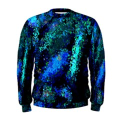 Underwater Abstract Seamless Pattern Of Blues And Elongated Shapes Men s Sweatshirt