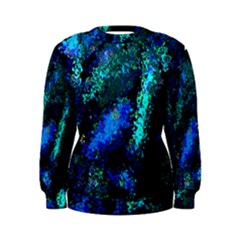 Underwater Abstract Seamless Pattern Of Blues And Elongated Shapes Women s Sweatshirt