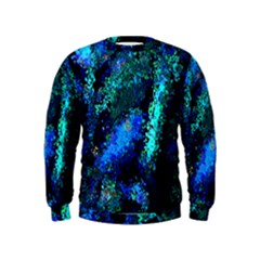 Underwater Abstract Seamless Pattern Of Blues And Elongated Shapes Kids  Sweatshirt