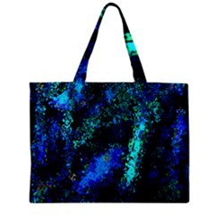 Underwater Abstract Seamless Pattern Of Blues And Elongated Shapes Zipper Mini Tote Bag