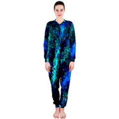 Underwater Abstract Seamless Pattern Of Blues And Elongated Shapes OnePiece Jumpsuit (Ladies)
