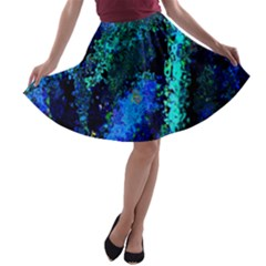Underwater Abstract Seamless Pattern Of Blues And Elongated Shapes A-line Skater Skirt