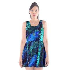 Underwater Abstract Seamless Pattern Of Blues And Elongated Shapes Scoop Neck Skater Dress