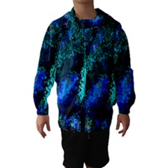 Underwater Abstract Seamless Pattern Of Blues And Elongated Shapes Hooded Wind Breaker (kids)