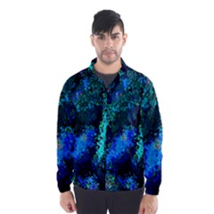 Underwater Abstract Seamless Pattern Of Blues And Elongated Shapes Wind Breaker (men)