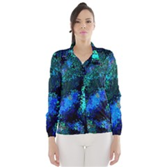 Underwater Abstract Seamless Pattern Of Blues And Elongated Shapes Wind Breaker (Women)