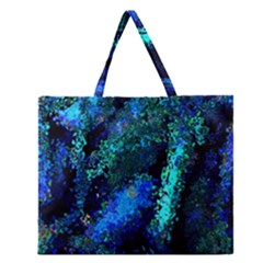 Underwater Abstract Seamless Pattern Of Blues And Elongated Shapes Zipper Large Tote Bag