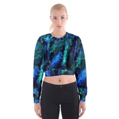 Underwater Abstract Seamless Pattern Of Blues And Elongated Shapes Women s Cropped Sweatshirt