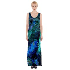 Underwater Abstract Seamless Pattern Of Blues And Elongated Shapes Maxi Thigh Split Dress