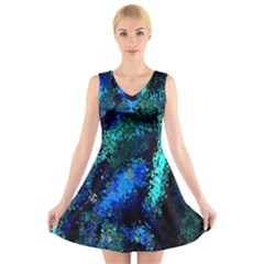 Underwater Abstract Seamless Pattern Of Blues And Elongated Shapes V Neck Sleeveless Skater Dress