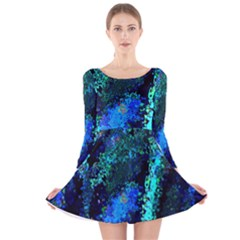 Underwater Abstract Seamless Pattern Of Blues And Elongated Shapes Long Sleeve Velvet Skater Dress