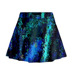 Underwater Abstract Seamless Pattern Of Blues And Elongated Shapes Mini Flare Skirt