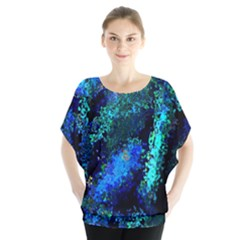 Underwater Abstract Seamless Pattern Of Blues And Elongated Shapes Blouse